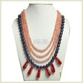 Peach/Grey Cord Stone Neck Piece