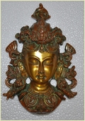 Goddess Face Brass Wall Decor Ornament