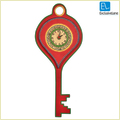 Hanging Key Shaped Warli Handpainted Clock Red