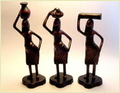 Abstract Tribal Lady Figurine Set Of 3