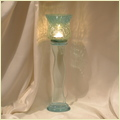 Glass Cracked Pillar Candle Holder
