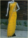 Embroidered Yellow Chiffon Saree