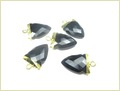 Black Onyx Gold Electroplated Tooth Pendant