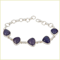 Solid Sterling Silver Bracelet With Tanzanite Gemstone