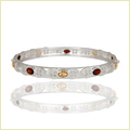 925 Sterling Silver Bangle With Citrine/Garnet