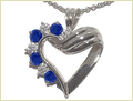 Silver Pendant With Sapphire Stones