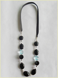 Black Ribbons Acrylic Beads Crystal Necklace