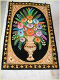 Hand Embroidered Silk Stones Flower Wall Hangings
