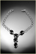Silver Necklace With Black Onex Stone