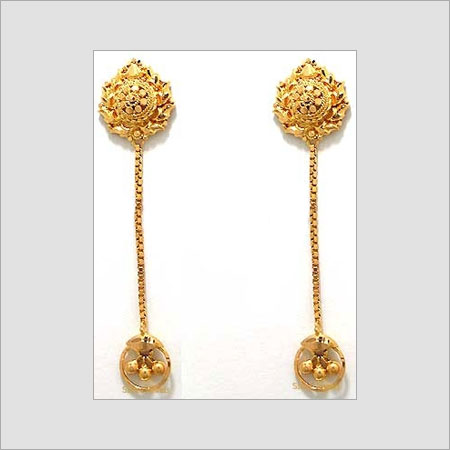 gold dangle hand crafted earrings in district darjeeling