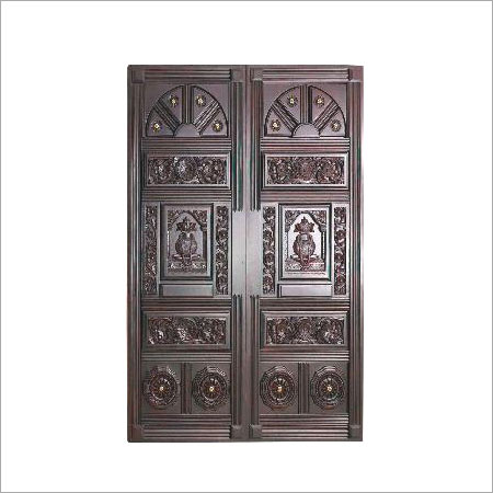 Wooden double door in chennai tamil nadu india arya bhangy for Traditional main door design