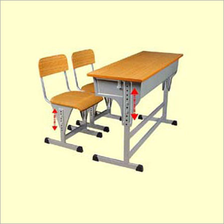 Adjustable Double Desk With 2 Adjustable Chairs
