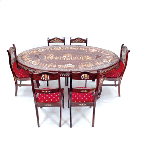 Oval dining table with 6 chairs in hyderabad telangana for Table 99 hyderabad telangana