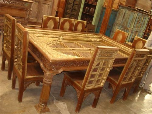 metal fitted wooden carving dining set in shastri nagar jodhpur