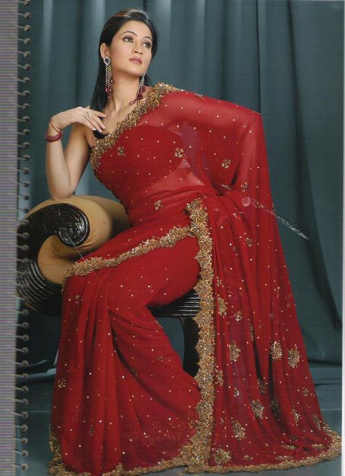 Net Red Saree