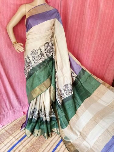 Block With Reverse Kantha Stitch Sarees