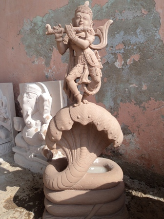 Stone Carved Krishna Sculpture in   Sikandra