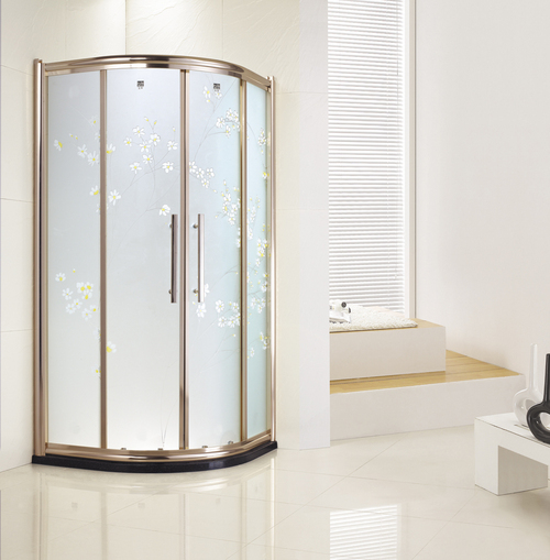carved glass gold frame fan shape double sliding door shower enclosure