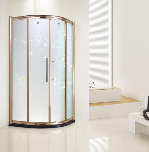 carved glass gold frame fan shape double sliding door shower enclosure