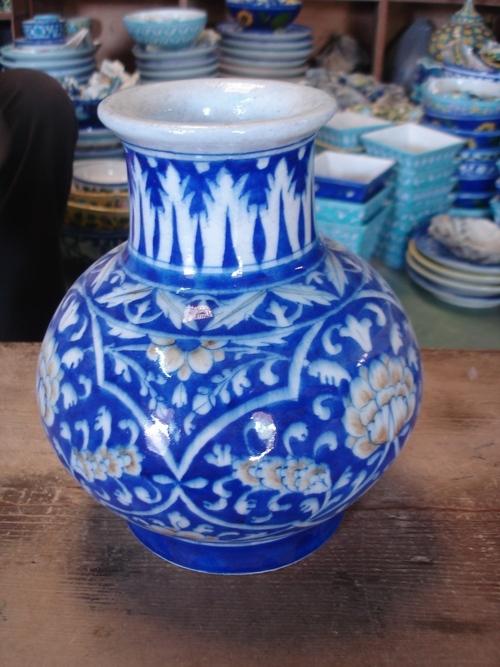 Painted Blue Pottery Vase In Jaipur Rajasthan Handicraft International