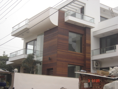 Outside wood wall cladding in peravallur chennai classik floors for Wooden cladding for exterior walls