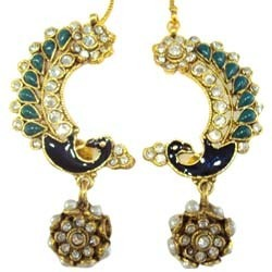 Peacock Design Kundan Earrings