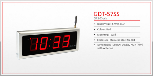 Stainless Steel Encloser Gps Clock 57mm Led Display