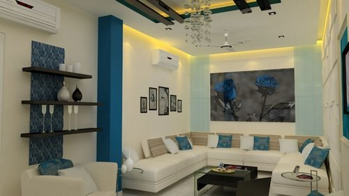 Living room interior decoration services in 50 sector for Simple indian drawing room interior design
