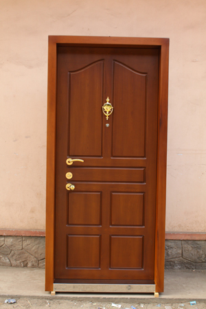 Steel door with teak finish in thiruvankulam kochi for Take door designs