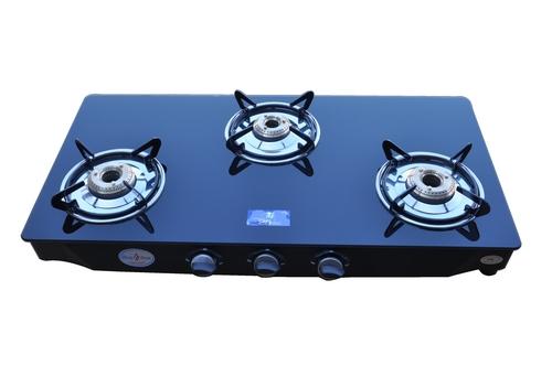 3 Burner Black Glass Gas Stove