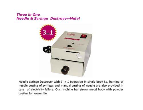Metal Three in One Needle and Syringe Destroyer
