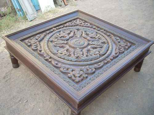 Designer Wooden Carved Coffee Table. Country: India