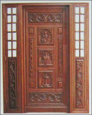 Solid teakwood 3d door in palanpur gujarat shree for Wooden main door designs indian style