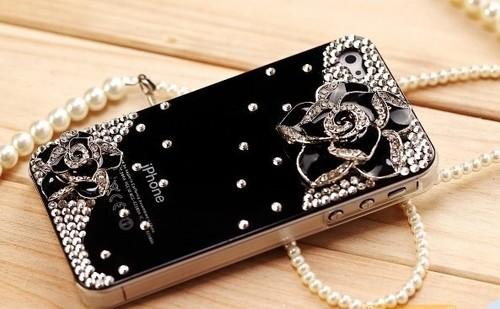 Bling Diamond Crystal Rhinestone Flower Hard Cover Case Skin