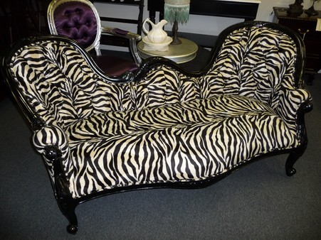 Faux zebra print double ended chaise lounge in mooroolbark for Animal print chaise lounge