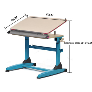 Height Adjustable Hand Crank Steel Wood Study Table For Children And  Students