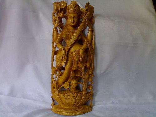 Goddess Saraswati Wooden Statue