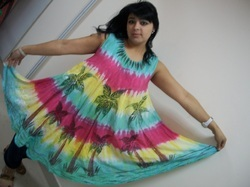 Hand Print Tie Dye Umbrella Dress