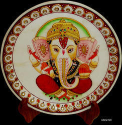 Marble Ganesh Plate Painting