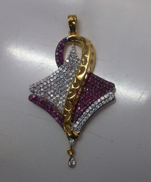American Diamond And Ruby Studded Locket