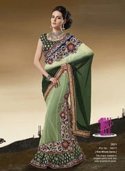 Elegant Patch Bridal Saree in  Ring Road
