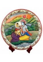 Krishna Radha Painted Marble Plate