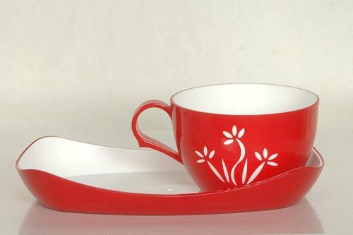 Plastic Microwave Cup and Saucer