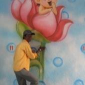 Flower Design School Wall Painting