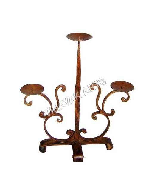 Wrought Iron Candle Holder in  Heavy Indl. Area
