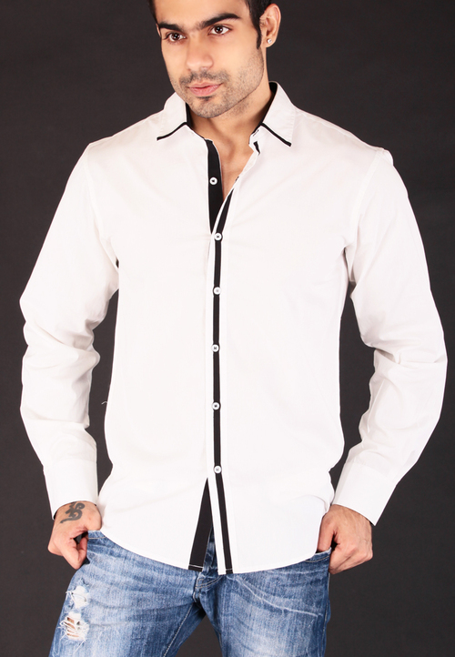 Casual White Shirt With Black Lining in Malviya Nagar, New Delhi -