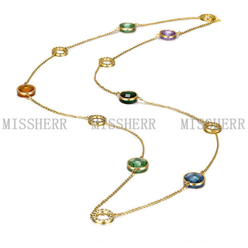 Circle Shape Long Chain Necklace