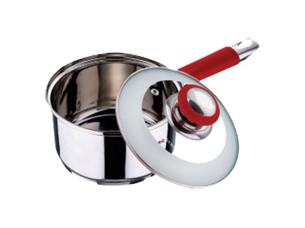 SS Saucepan With Lid Red