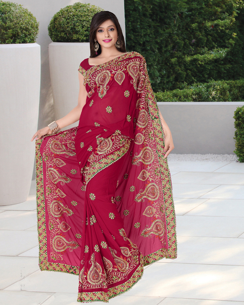 Bollywood Red Embroidery Saree in  Millenium Textile Market (Rr)