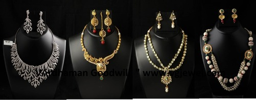 Polki Cz Kundan Necklace in  Bhiwandi